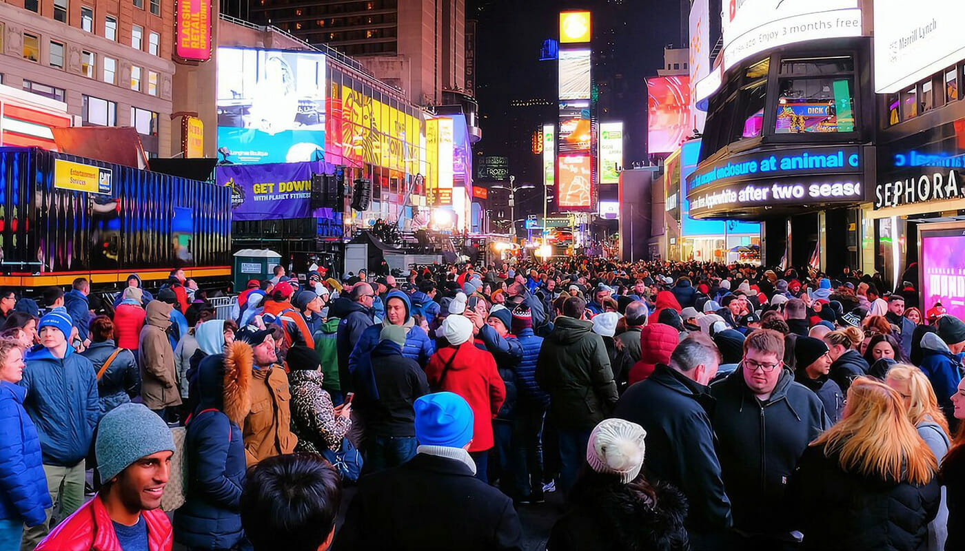 New Year's Eve in New York Crowd on Times Square