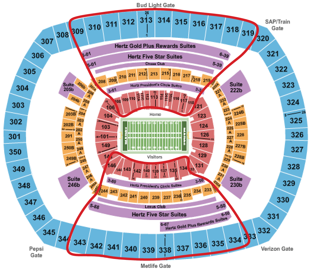 New York Giants Tickets Metlife Seating Chart
