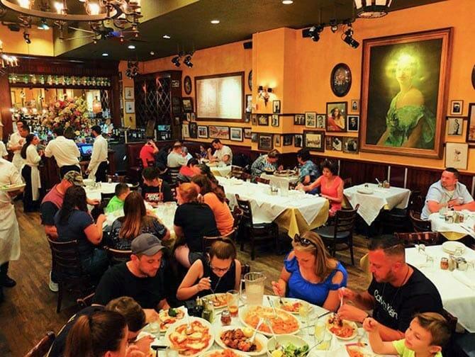 Carmine's Family Restaurant in New York - Having Dinner