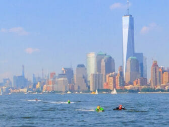 Jet skiing in New York One World Trade Center