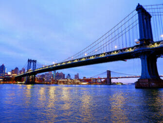 Manhattan Bridge in New York By Night