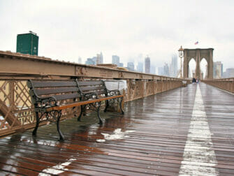 Rain in New York Brooklyn Bridge