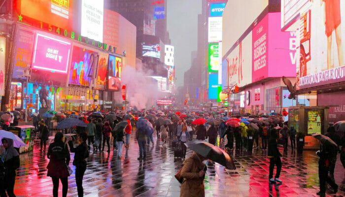 Rain in New York Times Square