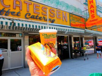 Denos Wonder Wheel Amusement Park in Coney Island - Nathans Famous Hot Dog