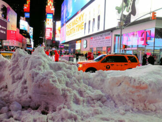 Snow in New York Times Square